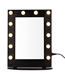 UNHO Hollywood Lighted Glam Vanity Mirror with 12 LED Bulbs Lighted Makeup Mirror (BLACK)