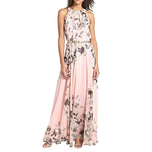Weixinbuy Womens Summer Floral Boho Beach Long Dress XL