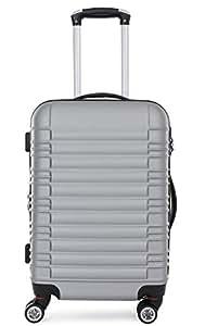 LG2088 Hartschalenkof fer Reisekoffer Reiserkofferset Trolley Koffer M-L-XL- (XL+L) - (L+M) (Silber, L)