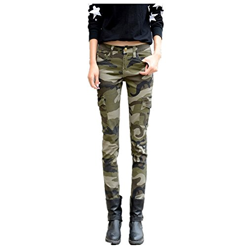 NASKY Women`s Casual Outdoor Camo Army Slim Stretch Jeans Tight Pants Leggings Cargo Pencil Pants Size 4