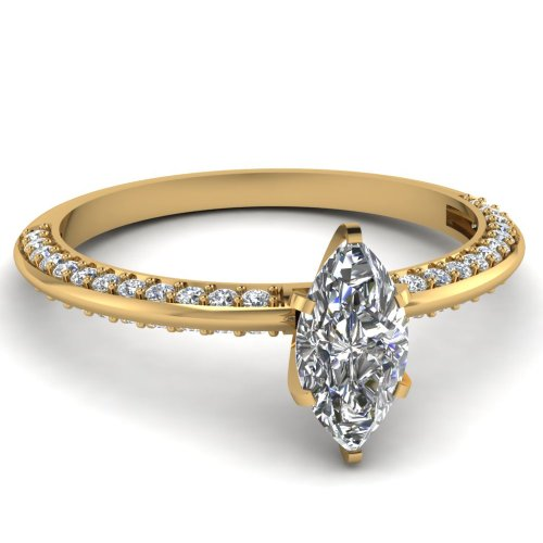 Fascinating Diamonds Luminous Knife Edge Engagement Ring 1 Ct Marquise Cut & Round Diamond Si1 14K Gia