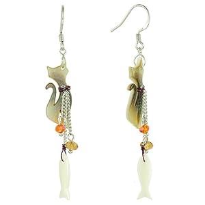 Pearl Shell Cat & Fish Drop Long Dangle Earrings