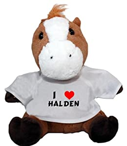 Plush Horse Toy with I Love Halden t-shirt (first name/surname/nickname)