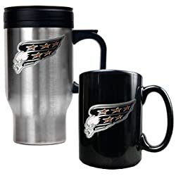Washington Capitals Stainless Steel Travel Mug & Black Ceramic Mug Set - Primary Logo NHL Hockey