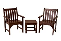Hot Sale POLYWOOD PWS142-1-MA Vineyard 3-Piece Garden Chair Set, Mahogany