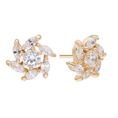 Romantic Time Bloom of Vortex Flower Windmill Teardrop Rhinestone 18k Rose Gold Plated Stud Earrings