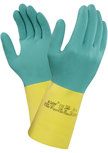 Ansell Bi-Colour 87-900 Guanti in lattice di gomma naturale, protezione contro le sostanze e i liquidi, colore: verde (Confezione da 12 paia), 10.5-11, verde, 12