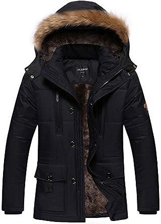 Fashciaga Men's Winter Hooded Faux Fur Lined Coats Medium Black