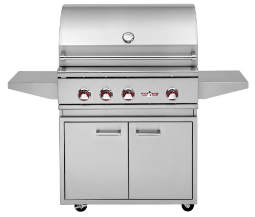 """Delta Heat 32"""" Natural Gas Grill On Double Door Cabinet With Infrared Rotisserie And Infrared Sear Zone"""