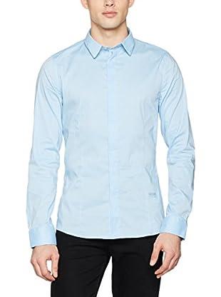 Guess Camisa Hombre Ls Classic Stretch Poplin (Cielo)