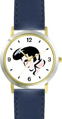 A Famous Rock & Roll Star Look a Like - WATCHBUDDY DELUXE TWO-TONE THEME WATCH - Arabic Numbers - Blue Leather Strap-Size-Children's Size-Small ( Boy's Size & Girl's Size ) (Like A Rock Ch compare prices)