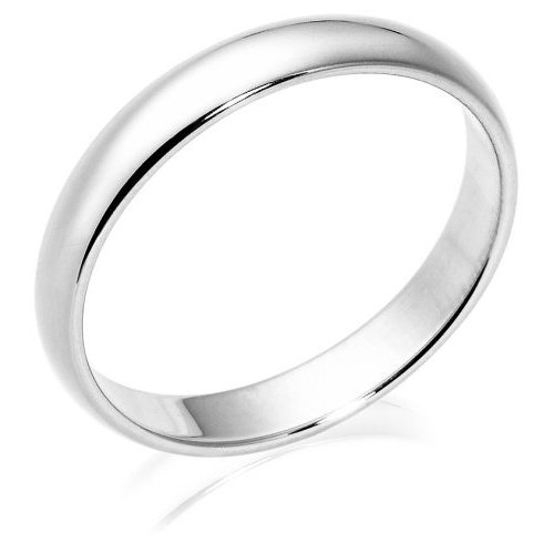 Men's 10k White Gold 4mm Traditional Wedding Band Ring, Size 9.5