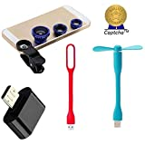 Moto X Play Compatible Ceritfied USB LED Light , FAN , Camera Lens and OTG (Micro USB to USB) Adapter (Assorted Color) with FREE GIFT