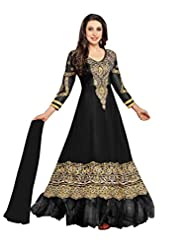 Vibes Women Gorgette Salwar Suit Dress Material (V168-36000E -Black -Free Size)