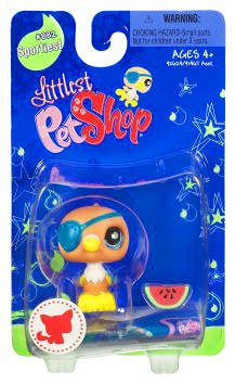 Buy Low Price Hasbro Littlest Pet Shop Sportiest Single Figure Parrot with Eye Patch and Watermelon (B002AXAIEI)