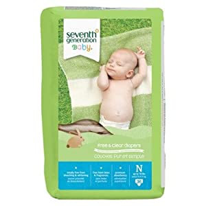 Seventh Generation Free & Clear Unbleached Diapers - Newborn - 36 ct