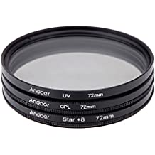 Alcoa Prime Andoer 72mm Filter Set UV + CPL + Star 8-Point Filter Kit With Case For Canon Nikon Sony DSLR Camera...
