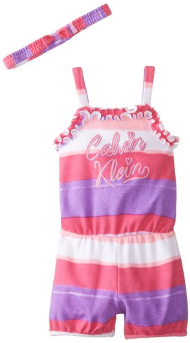 Calvin Klein Little Girls' Purple And Pink Stripes Romper With Headband, Purple/Pink, 4T front-914046