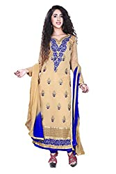 Styllaz creation beige chanderi cotton embrodaired dress material