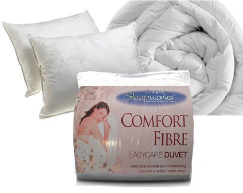 15 Tog Corovin Hollowfibre Quilt Duvet, Single With 2 Hollowfibre Pillows