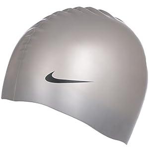 Nike - Geformte Badekappe für Kinder - Silikon - Silberfarben - Einheitsgröße