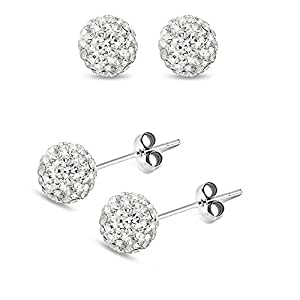 4mm Each Genuine Sterling Silver Stud Earrings. Handset Crystal Round Cz Stones