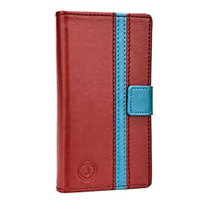 Jo Jo Cover Pluto Series Leather Pouch Flip Case For Panasonic Eb-3901 Red Light Blue