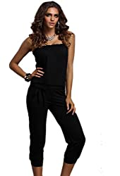 Cocoleggings Women Casual Strapless Jumpsuit Stretch Clubwear Rompers Capri Pants