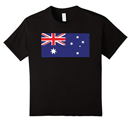 Kids Australia Australian Aussie National Flag Graphic Tee Shirt 4 Black (Aussie Flag Dress)