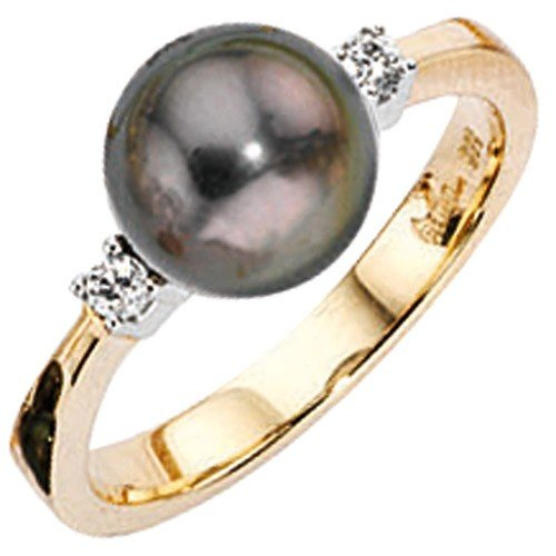 Gold Tahitian Pearl Ring with Diamonds 585 Women's Ring Finger Jewelry Regenbogen