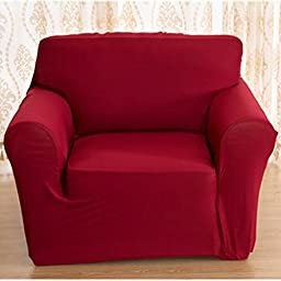 Universal Form Fit, Slip Resistant, Stylish Furniture Shield / Protector for Chair/ loveseat/ Sofa, Stretchable Chair Slipcover, Wine Red