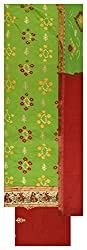 Royal Women's Cotton Unstitched Dress Material (Green and Red)