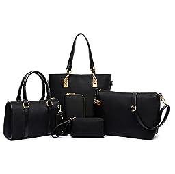 Itscosy Clutch Handbags for Women 6 Piece Set Bag Handbag and Purse (Model 5-Black)