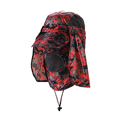 MEICHEN-Outdoor sun protection Hat Camo jungle cappelli all'aperto fisherman Hat Cappello da sole traspirante e ad asciugatura rapida Hat,rosso