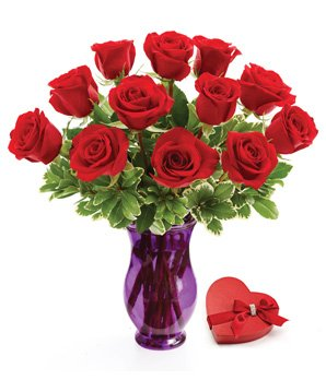 1-800-Flowers Be Mine - One Dozen Roses and Chocolate