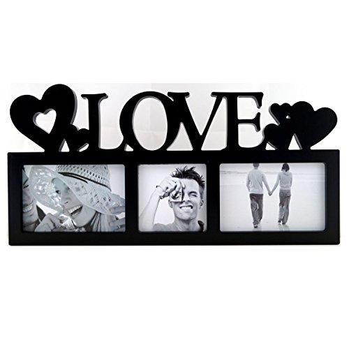 LOVE Bildergalerie für 3 Bilder in 3D Optik Bilderrahmen Schwarz P-0770