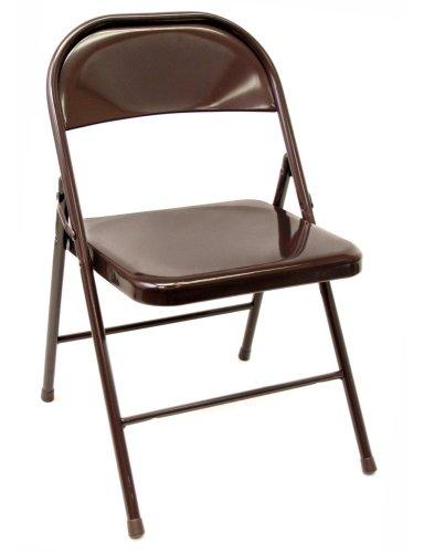 Steel Folding Chair in Brown Set of 4 – 8050BN SET