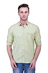 Trendster Green Solids Full Sleeve Casual Men's Shirt