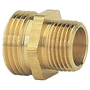 Gilmour GT3/4x1/2Male Connector - Green Thumb, Brass, Double Male 3/4 inch x 1/2 inch NPT, Threaded Pipe To Hose Connector.