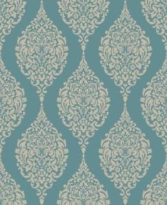 Home of Colour Damask Stripe Wallpaper - Teal by New A-Brend
