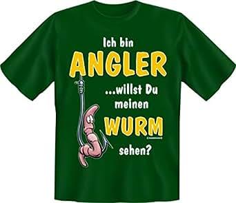 T-Shirt Ich bin Angler Wurm sehen? khaki Größe S S,Khaki
