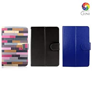 Gini 7 inches Flip cover forIntex iBuddy Connect 3G Tablet Combo of Multicolor, Black & Blue