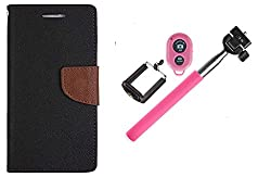 Novo Style Wallet Case Cover For  Motorola Moto E (2nd Gen.) Black + Selfie Stick with Adjustable Phone Holder and Bluetooth Wireless Remote Shutter
