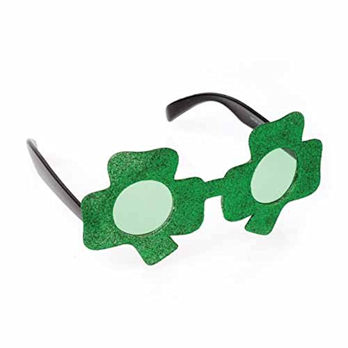 One St. Patrick's Day Shamrock Shaped Green Glitter Sunglasses