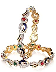 Awww Peacock Design Multicolor American Diamond Studded Bangles For Women