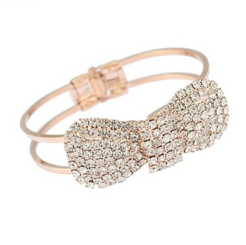 Zehui Cute Jewelry Crystal Rhinestone Bow Bowknot Bracelet Bangle Wristband (Gold)