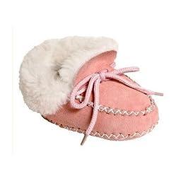 Cloud Nine Baby Sheepskin Moccasin (6-7, Pink)
