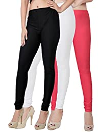 Fashion And Freedom Women's Pack Of 3 Black,White And Red Satin Leggings