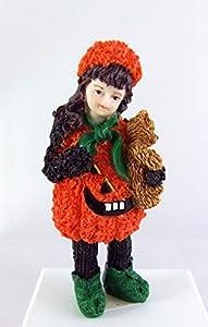 Puppenhaus Miniatur Maßstab 1:12 Resin Menschen kleine Mädchen Kürbis mit Teddy