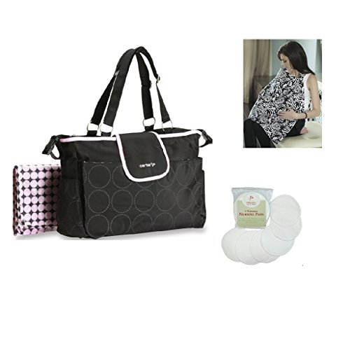 Carter's Fashion Diaper Bag Tote Gift Set with Nursing Cover & 6 Organic Cotton Nursing Pads (Black & Pink)